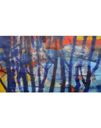 """Pejzaż niebieski las i drzewa"" - Obraz 9"